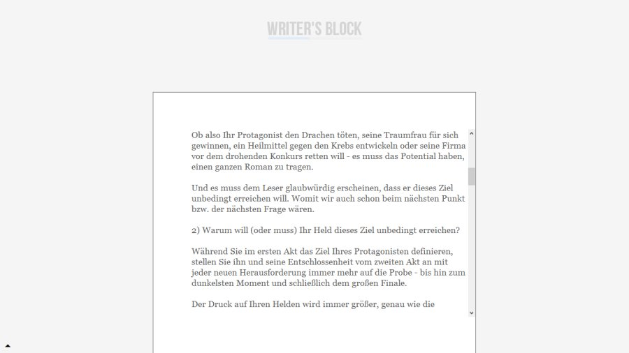 Screenshot Writer's Block